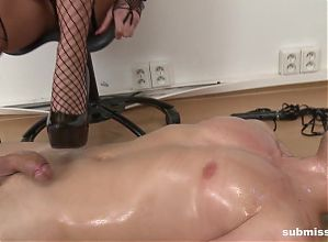 His friends pay a professional mistress to dominate him