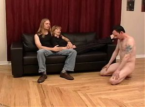 Cuckold humiliated and entertained by bull and wife