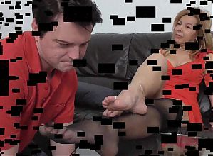 mature nylon lady train her foot slave bobby