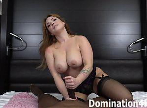 Summer Hart gives a handjob to a big, black cock