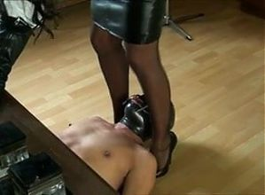 smothering leather skirt